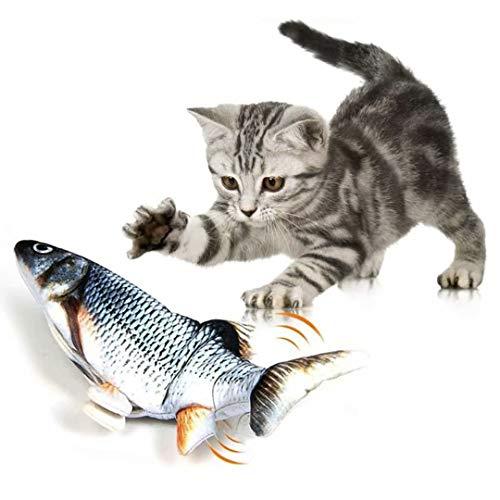 Fangqiyi Katzenspielzeug Elektrischer Fisch Fisch mit USB Katzenspielzeug Katzenminze Simulation für Katze zum Spielen Beißen Kauen