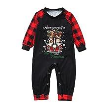 Pijamas Navidad Familia Conjunto para Mujer Hombre Niños Niña Bebé Ropa de Dormir Estampado de Santa Claus Tops y Pantalones a Juego con Dos Piezas Ropa de Noche Homewear