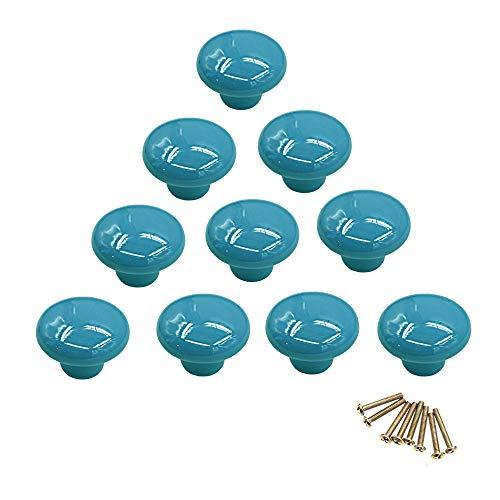 10 pomos redondos de cerámica de colores con un solo orificio, tirador para armario, aparador, puerta, cajón azul