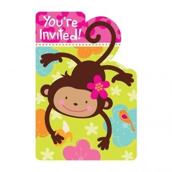 8 cartes d'invitation Singe - taille - Taille Unique - 211284