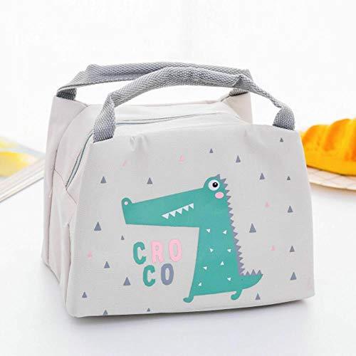 Heng draagbare geïsoleerde thermische voedsel picknick lunch tas box cartoon zakken zakje voor meisje kinderen kinderen, grijze krokodil, 17cm tot 21cm tot 15cm