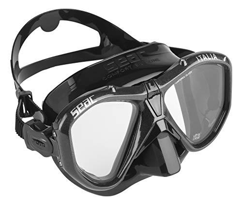 Seac Unisex– Erwachsene Italia Tauchmaske für professionelles und Freizeittauchen und Schnorcheln, schwarz/schwarz, Regular Fit