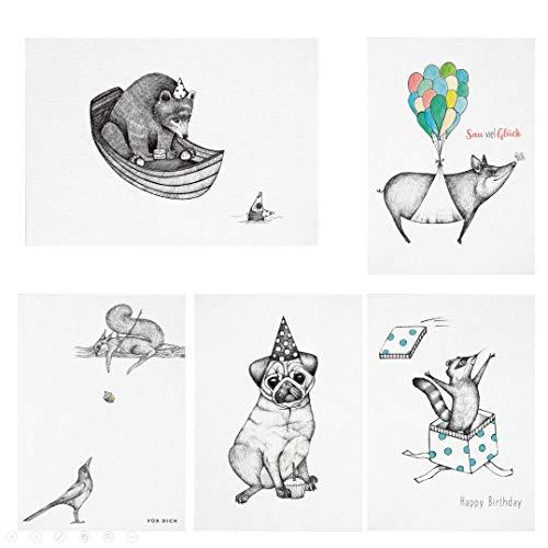 Ligarti Postkarten Set | 5 nachhaltige Grußkarten | Geburtstagskarte | Bambus Papier (Geburtstagskarten)