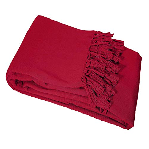 Nuances Du Monde - 3006689, Colcha De Sillon, 150 X 150 Cm, Lana, Algodón Tejido, Rojo