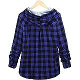 Blusa a cuadros de manga larga con botones, camisa con capucha, informal, tallas S-XXL, azul-1, XXL