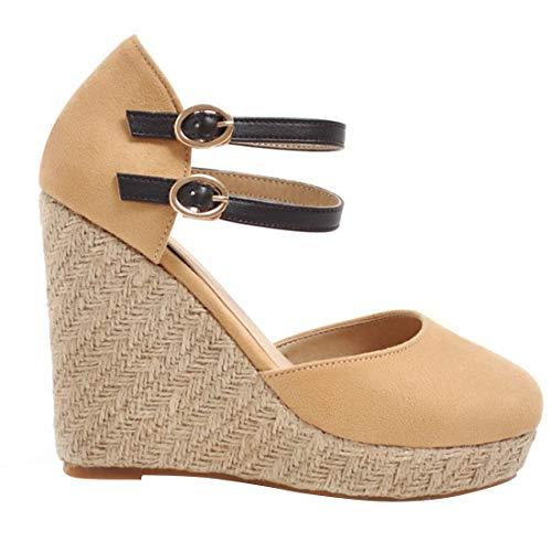 YYF Womens Espadrille Wedge Sandal mit geschlossener Zehenpartie aus naturbraunem Leinen mit Keilabsatz