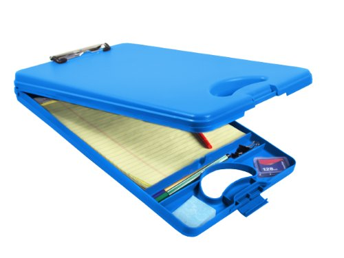 Saunders DeskMate II 00574 Plastic Storage Clipboard - Blue, Letter Size, 10 in. x 16 in. Document Holder with Internal Storage