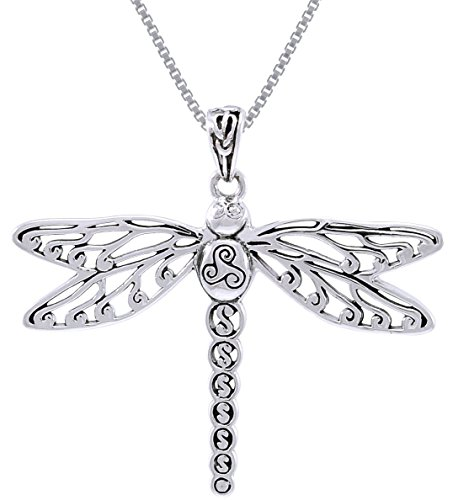 Jewelry Trends Sterling Silver Celtic Triskele Dragonfly Pendant Necklace 18'