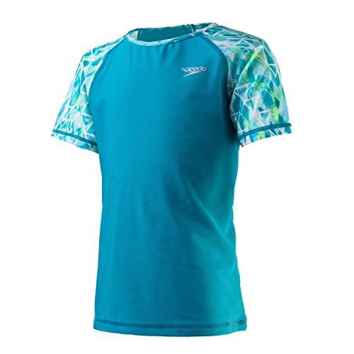 Speedo Girl's Uv Swim Shirt Short Sleeve Printed Rashguard,Capri Breeze,X-Large