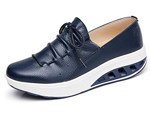 Zapatillas de Deporte Mujer Cuña Plataforma Zapato Antideslizante Adelgazar Fitness Sneaker