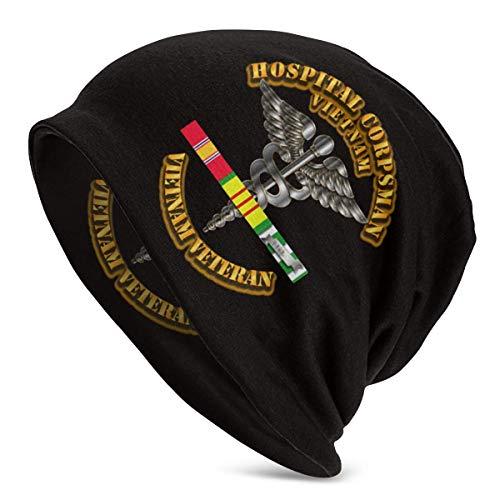 Hdadwy Navy Hospital Corpsman Vietnam Vet SVC Cintas Unisex Adulto Gorro de poliéster Gorra de Invierno Moda al Aire Libre Gorras Calientes