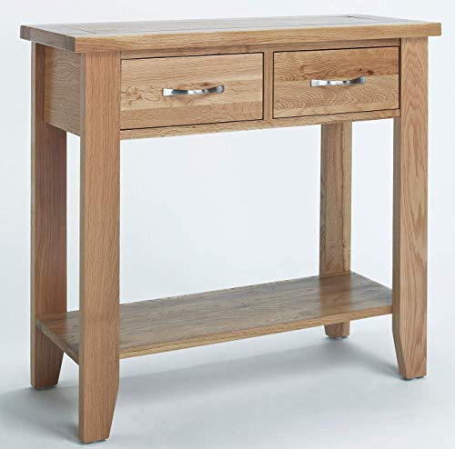 Hallowood Camberley 2 Drawer Console Table in Light Oak Finish | Solid Wooden Hall/Side/End/Telephone Stand, Small
