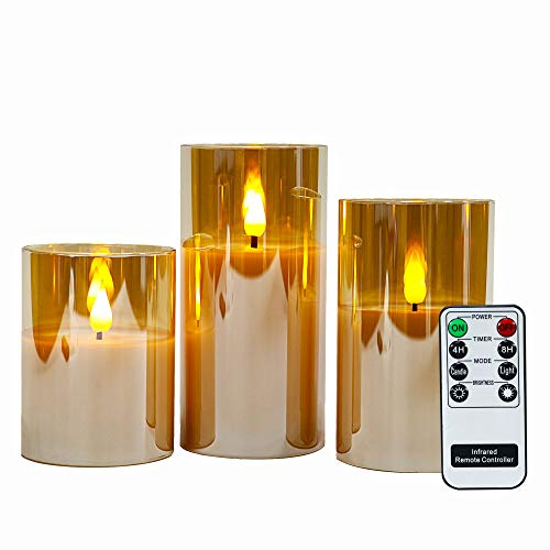Gold Glass Battery Operated Flameless Led Candles with 6H Timer , Warm White Flickering Light, Batteries Included - Set of 3