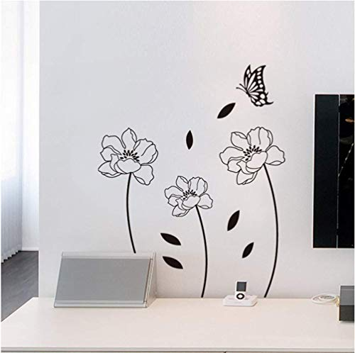 Wall Sticker Home Decoration 70Cm*50Cm Garden Plant Flower Butterfly DIY Wall Stickers Home Decor Living Room Bedroom Kitchen PVC Wall Decals DIY Mural Art Wallpaper