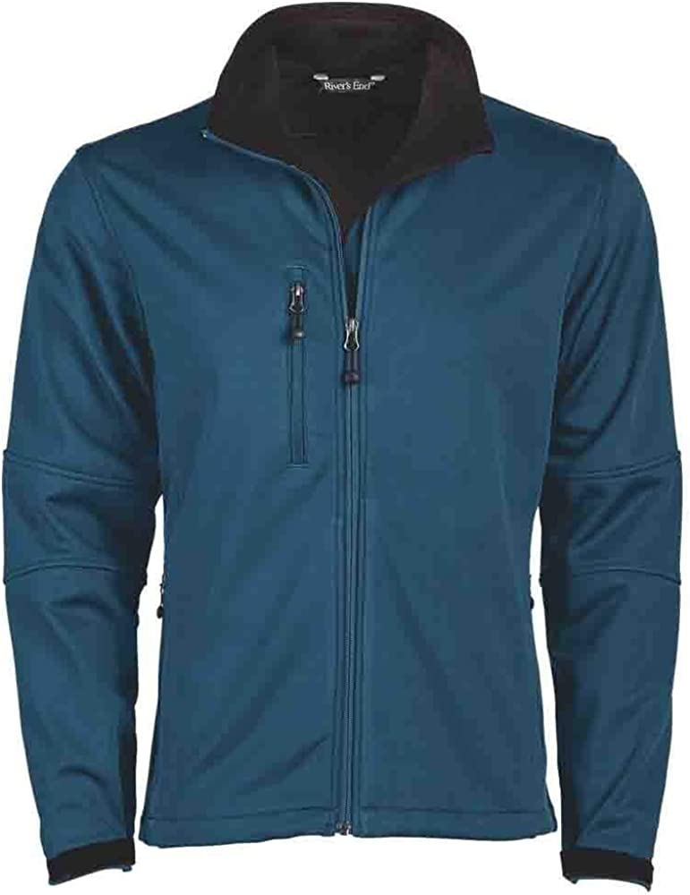 River's End Mens Soft Shell Jacket Coats Jackets Outerwear Casual 4-Way Stretch - Blue