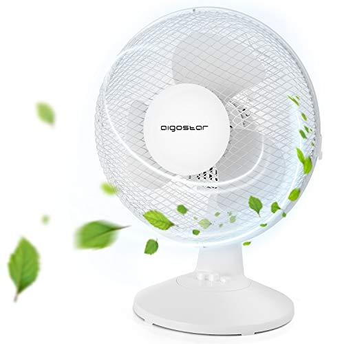 Aigostar Vicki 33JTM - Ventilador de mesa de 2 velocidades, diámetro 27,5 cm, 25 W, oscilación de 80 grados. Altura 40 cm, ligero 1,73 kg, color blanco. Diseño exclusivo.