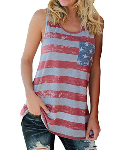 Barlver Women s American Flag Camo Tank Tops Sleeveless Stripes Patriotic T Shirts 4th of July (28-Bowknot-XL)