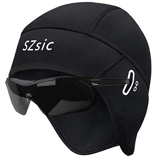 SZsic 방한 자전거 이너 캡[프리사이즈안경구멍】헬멧내부방풍발수뒤에서기모자전거모자통기성내구성자전거오토바이스키달리기캡(블랙남자용)