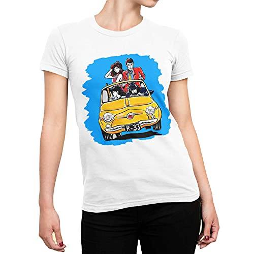 maglia lupin CHEMAGLIETTE! T-Shirt Divertente Donna Maglietta con Stampa Simpatica Lupin 500 Bianco