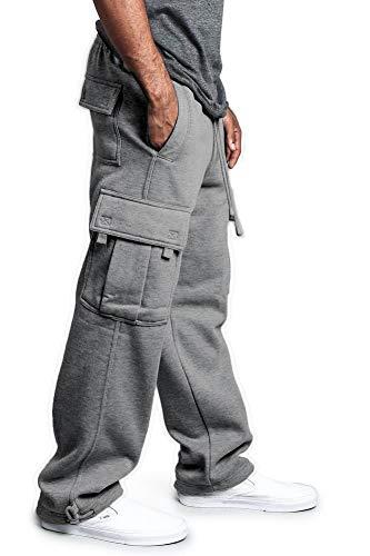Men's Heavyweight Fleece Cargo Pants Man Casual Solid Gym Sweatpants Loose Fit Drawstring Jogging Cargo Pocket Sports Elastic Trousers (Light Grey, XL)