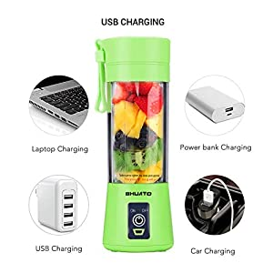 [Upgraded Version] USB Juicer Cup by BHUATO, Portable Juice Blender, Household Fruit Mixer - Six Blades in 3D, 380ml Fruit Mixing Machine for Superb Mixing (Green)…