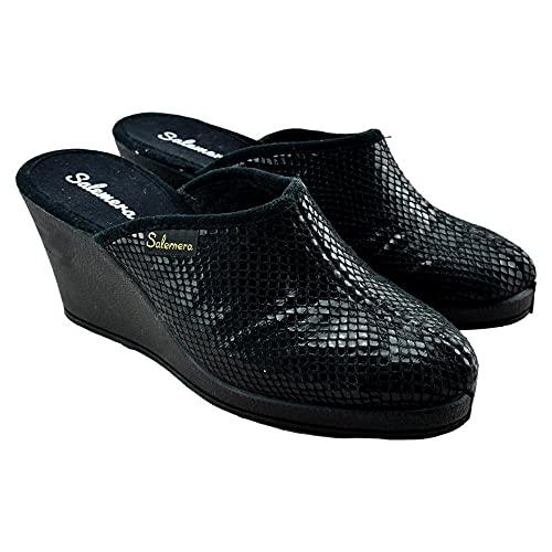 SALEMERA - Zapatillas DE CASA con CUÑA Alta 577577 Sintético Mujer Color: Piton Negro Talla: 38
