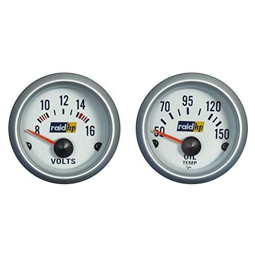 Raid HP 660223 Voltmeter, Zusatzinstrument Silver Line & 660221 Öltemperaturanzeige, Zusatzinstrument Silver Line