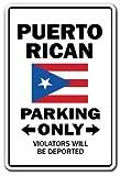 PotteLove Puerto Rican Parking Sign Puerto Rico Virgin Islands Vacation Aluminum Metal Sign Tin Plaque 12' X 18'