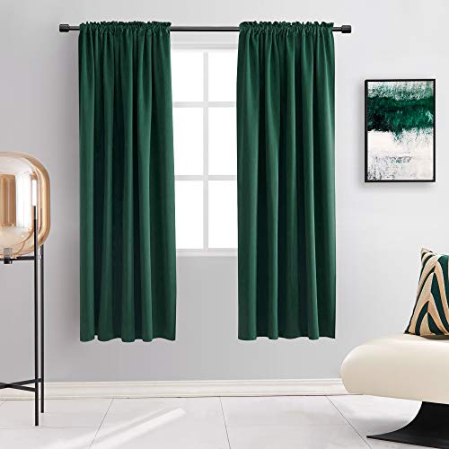 DONREN 63 Inch Length Dark Emerald Green Blackout Window Curtains for Bedroom - Hunter Green Room Darkening Thermal Insulating Curtain Panels for Living Room with Rod Pocket,2 Panels