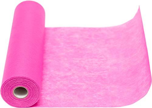 Vlies Tischläufer, 1 Rolle 25 m x 30 cm, Dekostoff | Tischband | Tischdeko Hochzeit, Taufe, Kommunion | Deko Geburtstag (Pink)