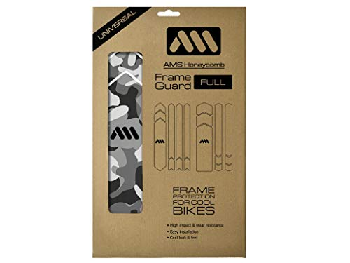 All Mountain Style Unisex's AMSFG5CLSV Honeycomb High Impact Frame Guard XXL – Protects Your Bike from Scratches and dings, Clear/Camo