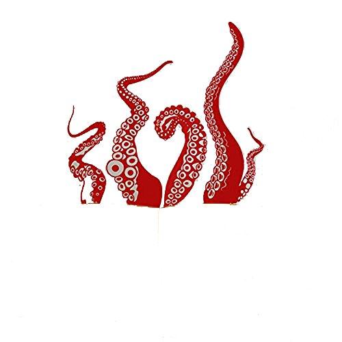 GOUZI Kreative Octopus Sofa im Art-déco-Stil Werden s Red Wall Sticker abnehmbare Wall Sticker für Schlafzimmer Wohnzimmer Hintergrund Wand Bad Studie Friseur