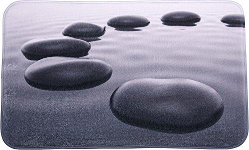 Badteppich Black Stones 70 x 110 cm, hochwertige Qualität, sehr weich, schnelltrocknend, waschbar, rutschhemmend, Fußbodenheizung geeignet
