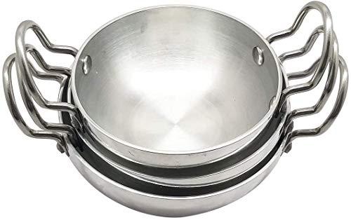 Whopper Indian Kadai, set di padelle antiaderenti in alluminio Set di padelle da cucina di 3 argento 250.300.400 ML