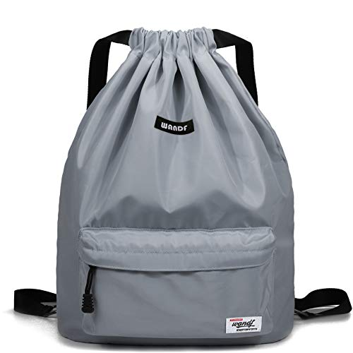 Drawstring Backpack String Bag Sackpack Cinch Water Resistant Nylon for Gym Shopping Sport Yoga by WANDF (Light Grey 6032)