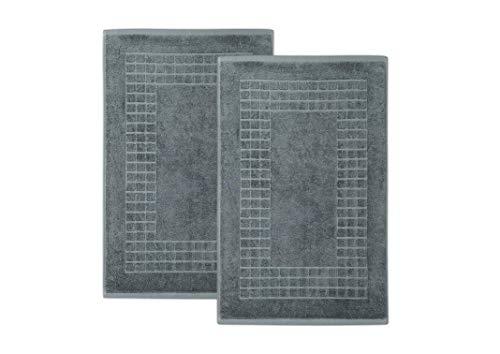 myHomery Badvorleger Made IN EU im praktischen 2er-Set aus 100% gezwirnte Baumwolle Anthrazit | 50x80 cm - 2er-Set