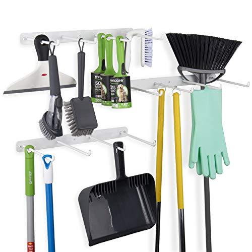 Garagen-Organizer, 4 Fächer, Besenhalter, Wandmontage, Haken und Werkzeughalter, Schmiedeeisen, Weiß, 3 Stück