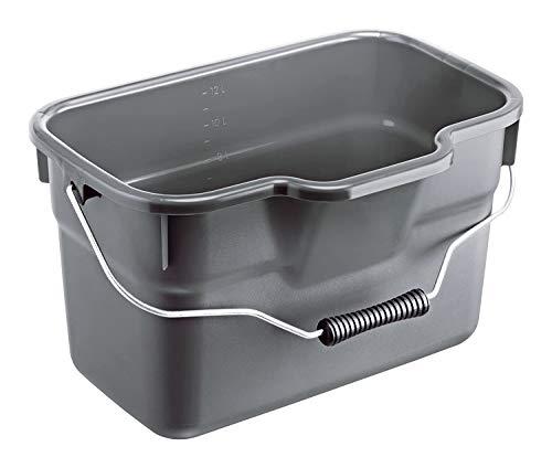 Rotho Basic eckiger Eimer 12l mit Henkel und Skala, Kunststoff (PP) BPA-frei, anthrazit, 12l (38,0 x 26,0 x 23,0 cm)