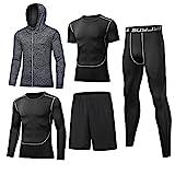 BUYJYA 5Pcs Men's Compression Pants Shirt Top Long Sleeve Jacket Athletic Sets Gym Clothing Mens Workout (Gray, S)