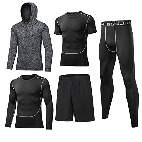 BUYJYA 5Pcs Men's Compression Pants Shirt Top Long Sleeve Jacket Athletic Sets Gym Clothing Mens Workout (Gray, M)