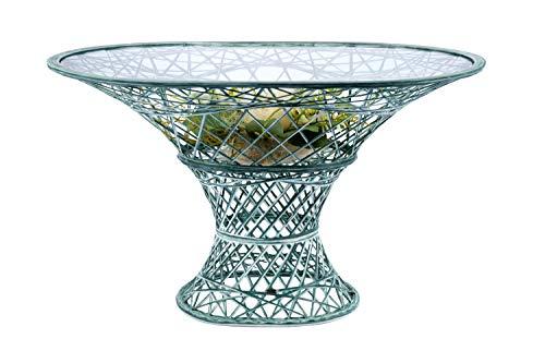 MASSON Gartentisch Fiberglas, oval, 120x80 cm, Farbe Tannengrün/Weiß, handgewickelt und wetterfest