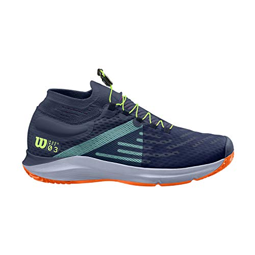 Wilson Homme Chaussures de Tennis, KAOS 3.0 SFT PARIS, Bleu/Orange/Vert, 42 2/3, pour tout type de courts, pour les joueurs de tout niveau, WRS326910E085