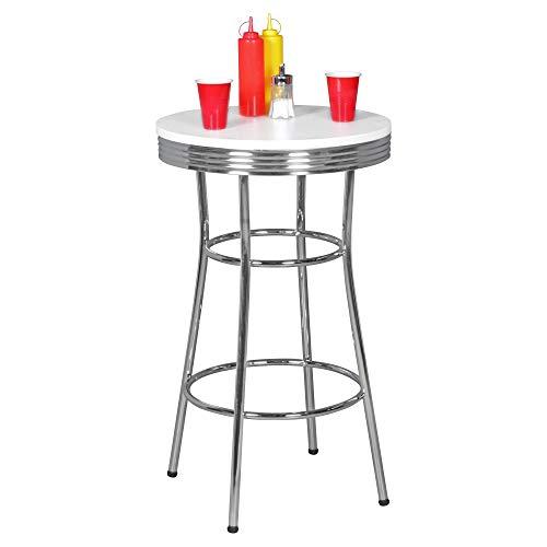 FineBuy American Diner Bartisch Ø60 Rund Höhe 100cm MDF/Aluminium | Retro Stehtisch USA in Weiß/Silber | Robuster Bistrotisch im Stil der 50er Jahre | Party Bar Möbel Tisch Untergestell