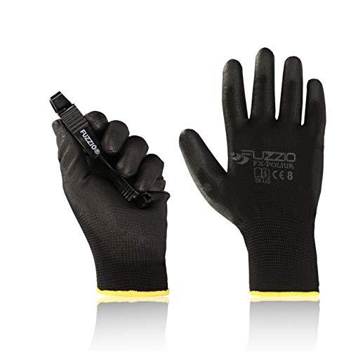 FUZZIO® 20 Paar Arbeitshandschuhe EN388 PU Beschichtung Bauhandschuhe Montage mit Handschuh-Klammer (M|8, Schwarz)