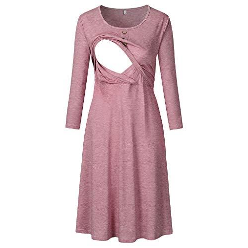 Long Sleeve Double Layer Nursing Nightgown Women's Maternity Hospital Gown/Sleepwear for Breastfeeding,Pregnancy Nightwear Sleepwear Dress (M/US Size:6, Watermelon Red)
