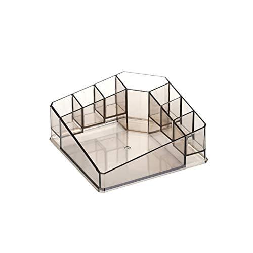 Boîte de maquillage transparente Acrylique Cosmétiques Organisateur Rack de stockage de bureau pour les rouges à lèvres fard à paupières Ombre à paupières poudre pressée (café)