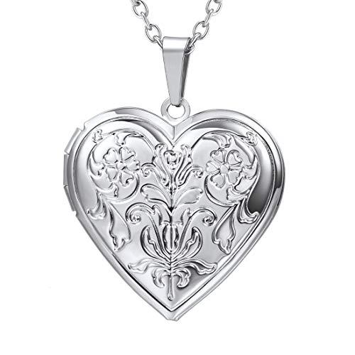 U7 Colgante Corazón Collar para Mujer relicario guardapelo Accesorio Jersey
