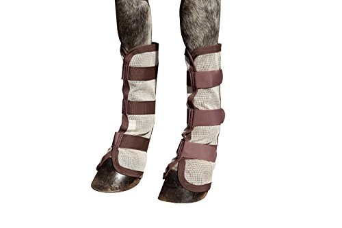 Kensington Natural Horse Fly Boots — Stay-Up Technology with Velcro Straps — Protection from Insect Bites and UV Rays — Sold in Pairs (2 Boots)