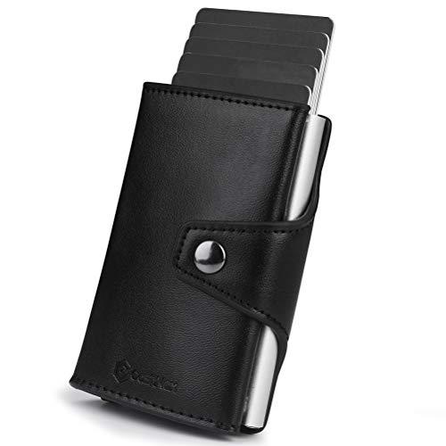 CashNox Cartera Compacta, Tarjetero de RFID Bloqueo Cartera Tarjetero con Pop-up Metalico Caja Multiuso Bolsillos Mini Monedero Tarjeteros