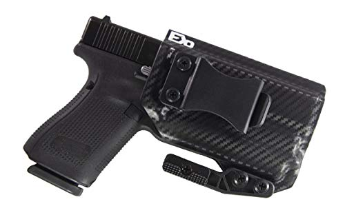 Fierce Defender IWB Kydex Holster Compatible with Glock 19 23 32 w/Olight PL-Mini Valkyrie The Paladin Series -Made in USA- GEN 5 Compatible (Carbon Fiber)